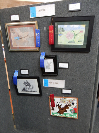 "The Mayo Woman's Club Pioneer Day Art Show inside the lobby of Lafayette State Bank. The theme this year was ""Reminiscing from your front porch."" Pioneer Day Parade"