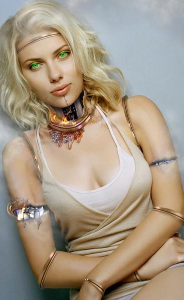 Cyborg Scarlett. Overheated.