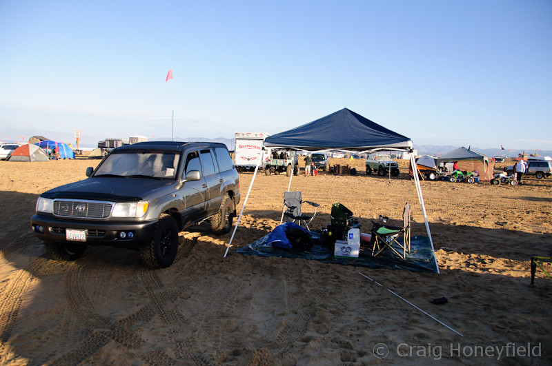 "Camp Setup - The ""Easy Up"" was not easy to put up with 20 mph winds and sand blowing everywhere."