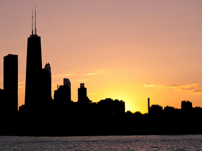 Sunset at Chicago Navy Pier