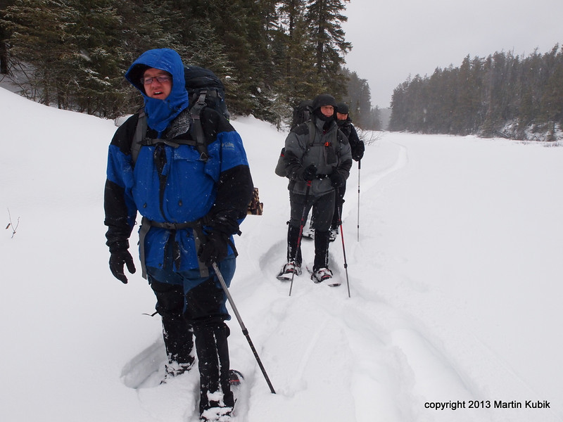 Breaking snow was exhausting.  Here Brian steps aside as I move in front.   We took turns breaking snow frequently.