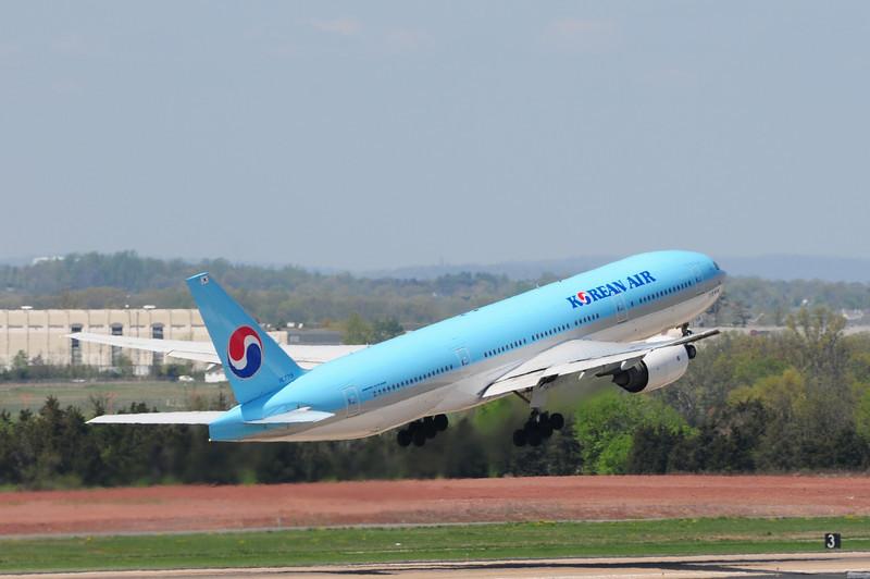 Korean Air Boeing 777 head for Seoul South Korea.