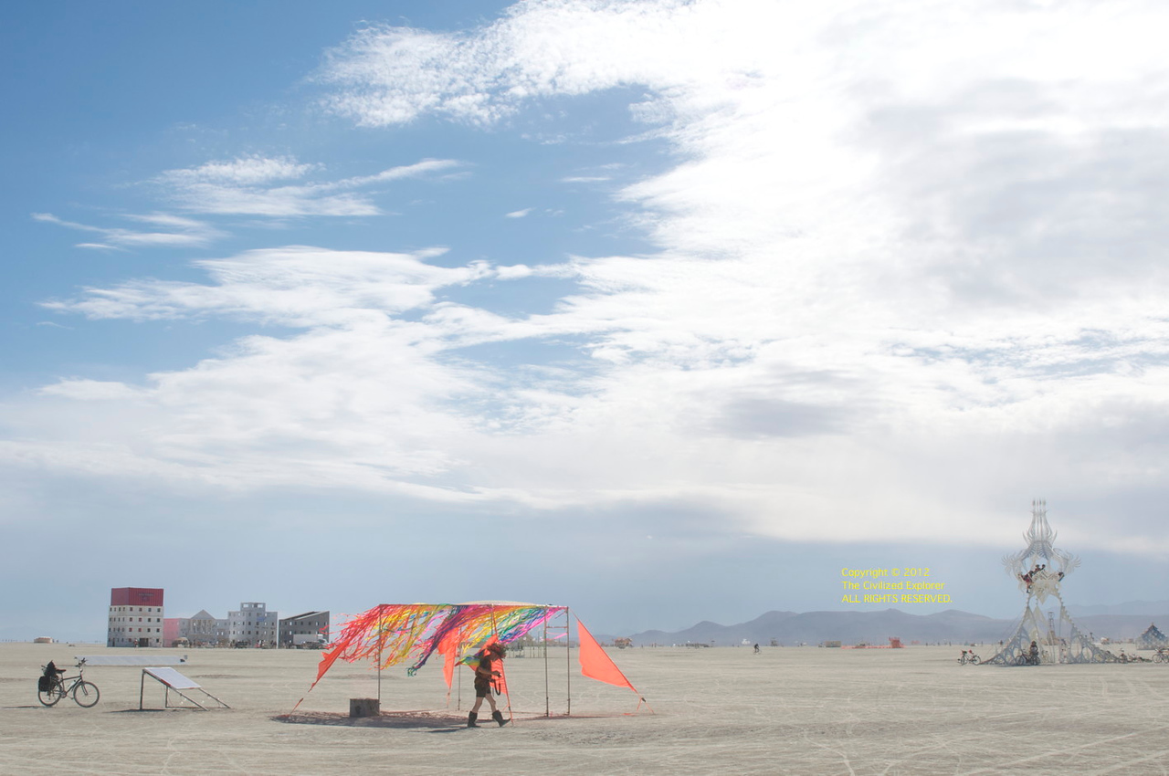 A view of the playa with great clouds.