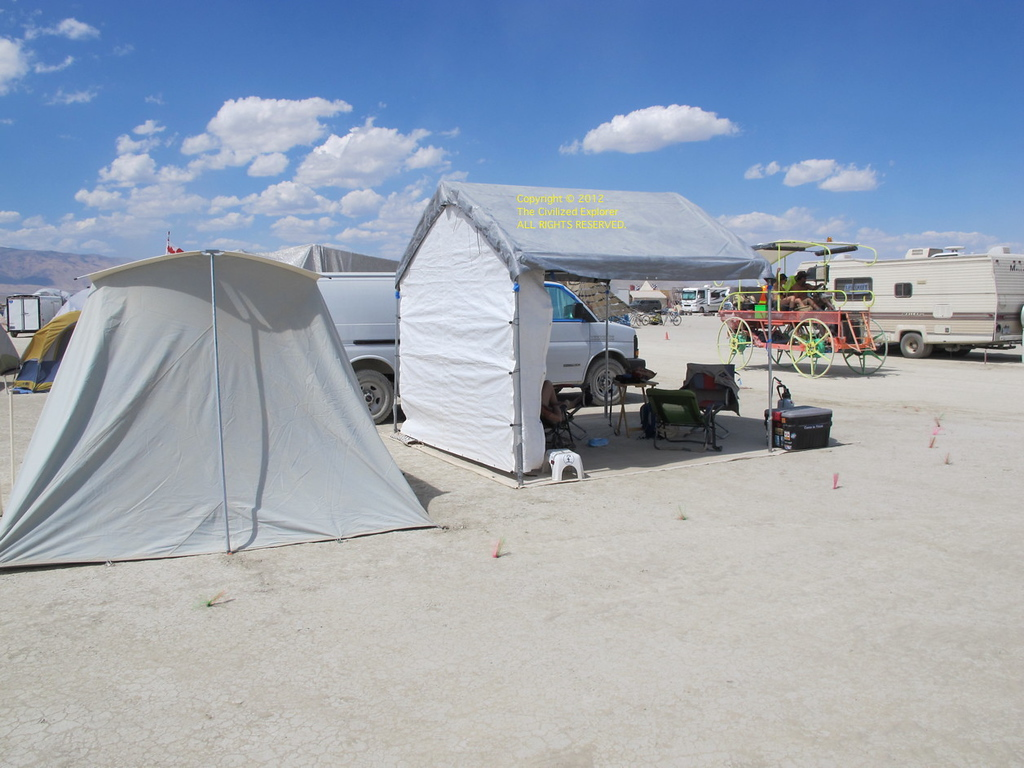 Our camp. We have set up our shade and tent, but we haven't fully unloaded our stuff.