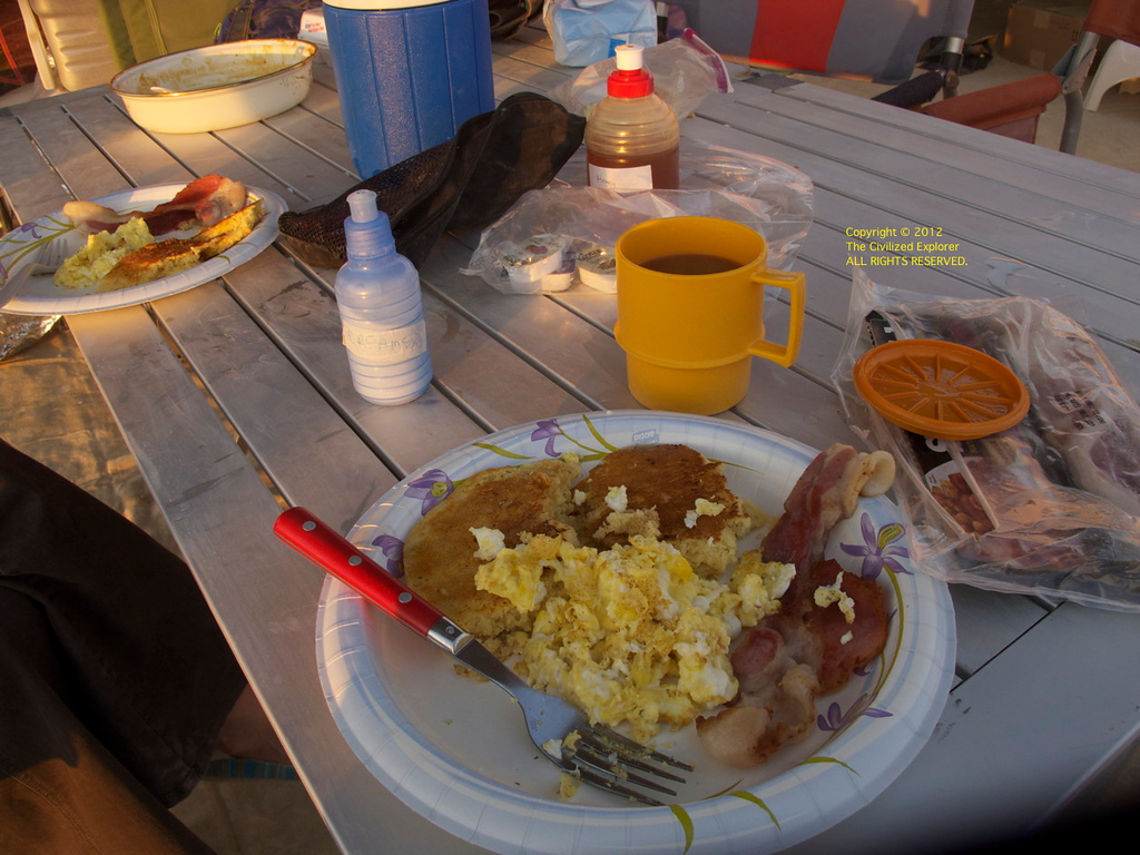 Our breakfast one morning: bacon, scrambled eggs, and bannock.