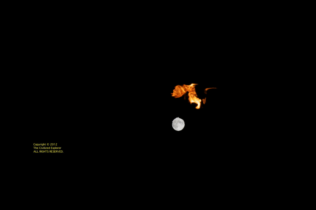 The moon and a flame.