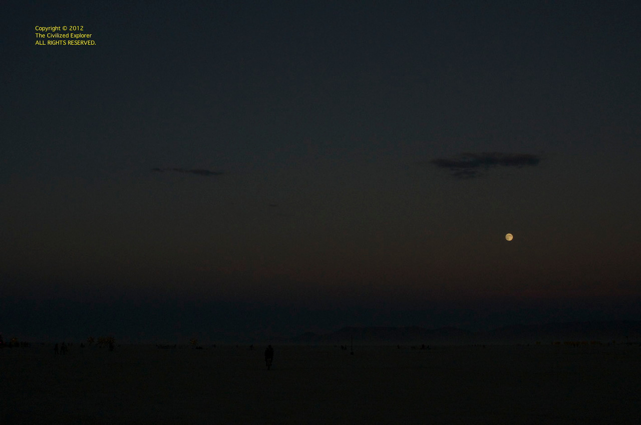 Moonrise over the mountains east of the playa.