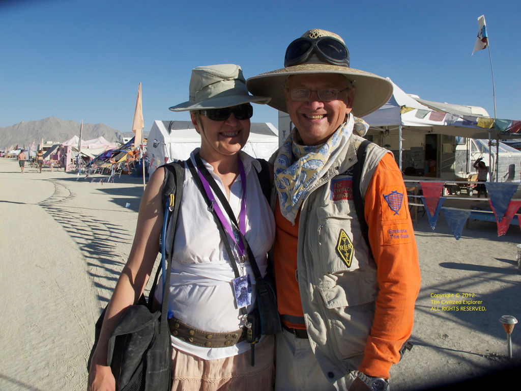 Louise and me somewhere on the playa. Thanks whoever took this -- I wish I remembered who it was.