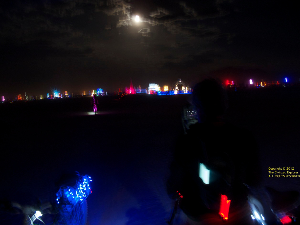 Louise was moving around when I took this photo of the full moon on the playa.