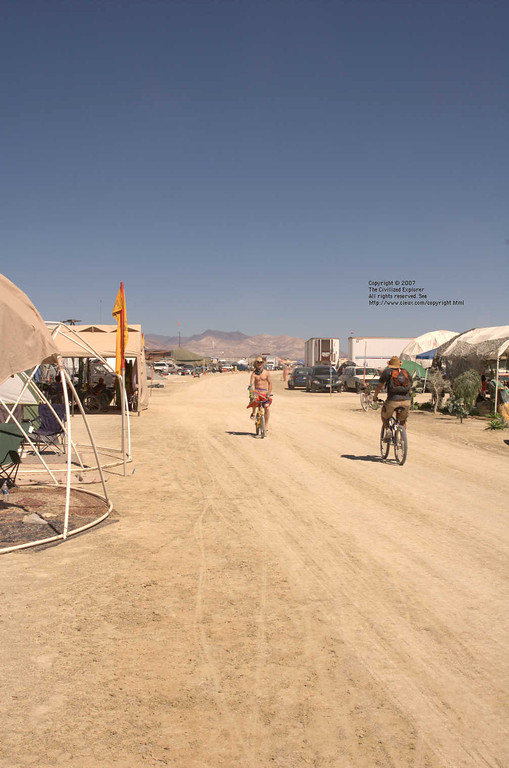 A view along the street where we lived at Burning Man 2007.
