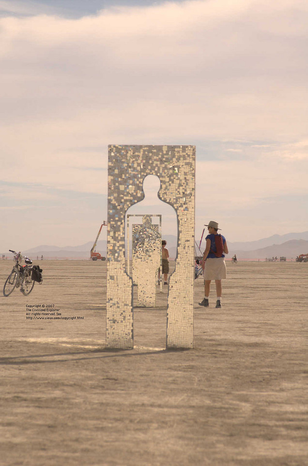 """Where did you go?"" by Michael Emery. This has been on the playa a few times, and it always draws us to it. Thanks to timezone for the ID."