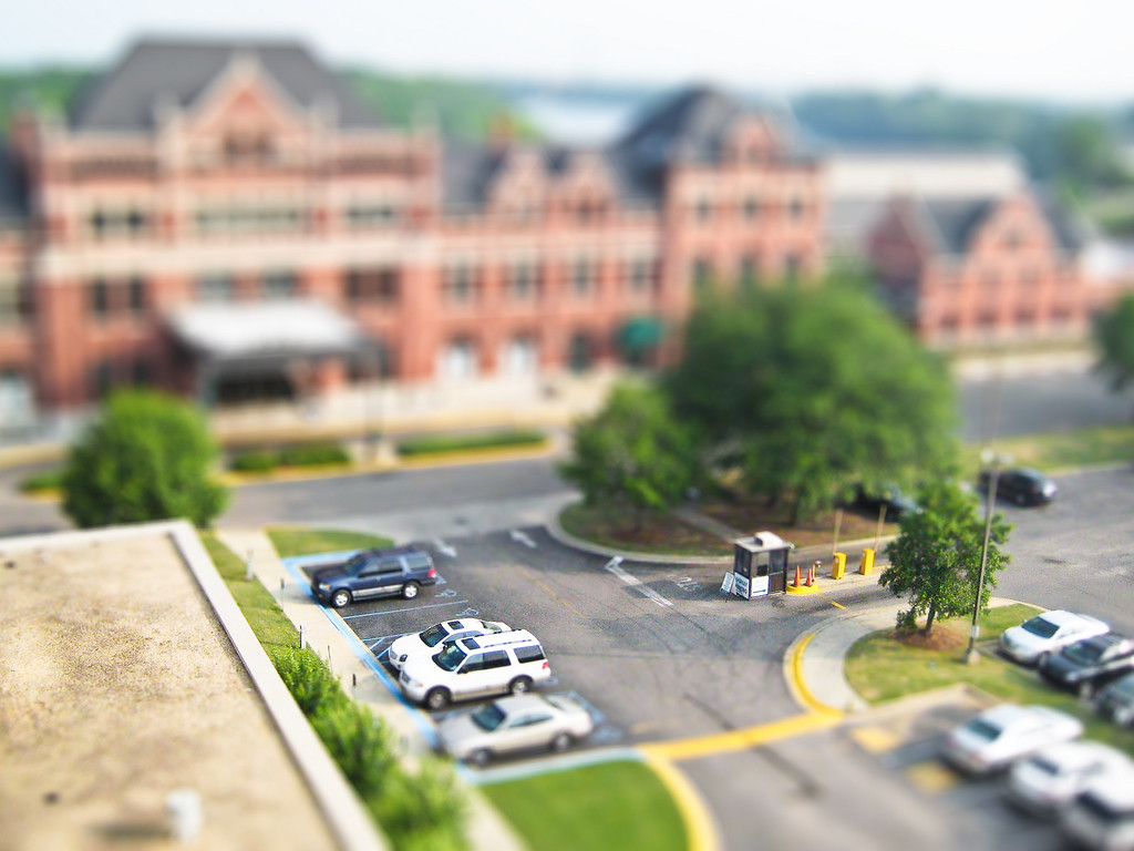 Fake tilt-shift view of downtown Montgomery, AL from the 7th floor of the Embassy Suites hotel.
