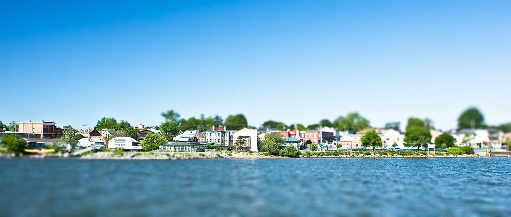 Fake tilt-shift model of the view of Havre de Grace, MD from the Susquehanna, MD