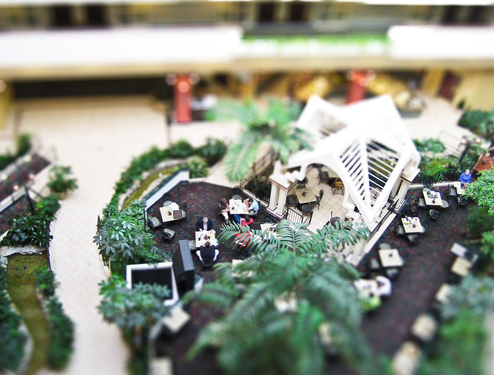 Fake tilt-shift view of the interior dining area of the Embassy Suites hotel in downtown Montgomery, AL