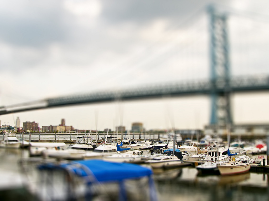 Fake tilt-shift model of from the Dave & Busters at the foot of the Ben Franklin bridge in Philadelphia.