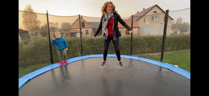 On the trampoline with Fifi