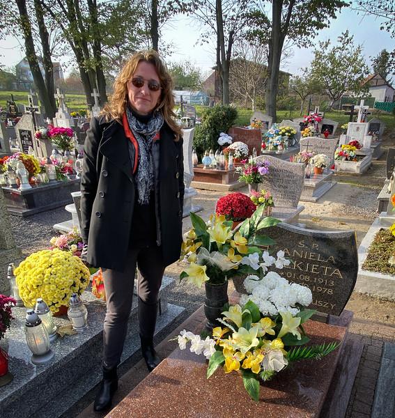 At my grandmother's grave in Czerwona Woda