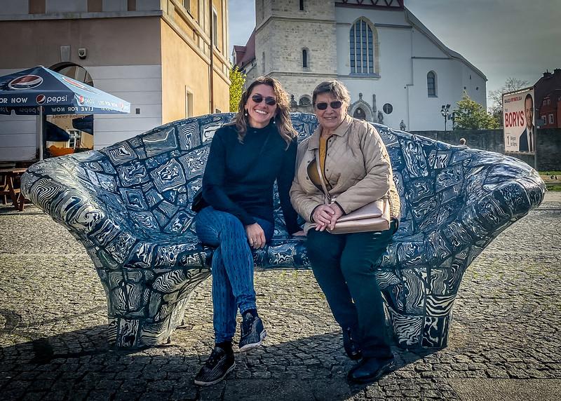 Sitting on the Ceramic Bench in Boleslawiec