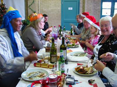 Christmas Dinner - Keith, Claire, Mick at end, John, Peter, karen, Anastasia, Ann & Chris.