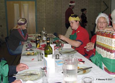 Christmas Dinner - Beverley M, Alex behind Zoe, Janet & Felicity Jenny & Martin behind