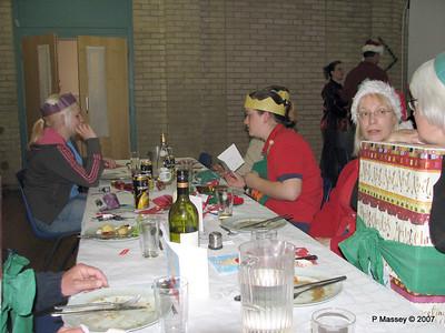 Christmas Dinner - Beverley M, Alex behind Zoe, Janet & Felicity. Jenny & Martin behind