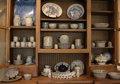Blue and white, including a huge set of Henn Potttery sponge wear dishes.