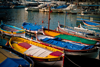 Colourful boats in Port of Nice, French Riviera, France