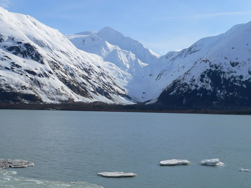 Looking southwest across Portage Lake at Byron Glacier - a shell of its former self it is rapidly retreating and may soon cease to exist entirely.