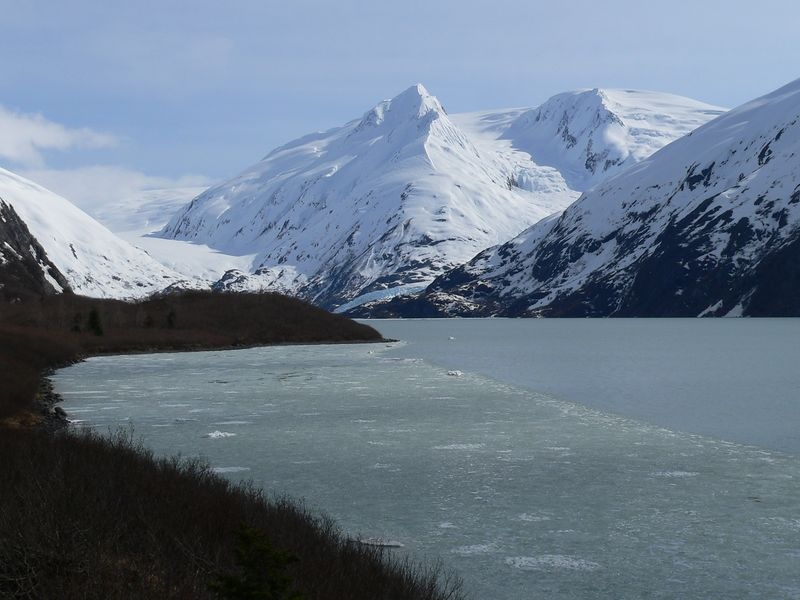 Six glaciers - Explorer, Middle, Byron, Portage, Burns, and Shakespeare - are located in the Portage valley area - the latter four feed directly into Portage Lake, and can be observed from various vantage points around the lake.  This picture is looking south along the eastern shore of Portage Lake. Burns Glacier and the downstream tip of Portage Glacier are visible at the south end of the lake in this photo.