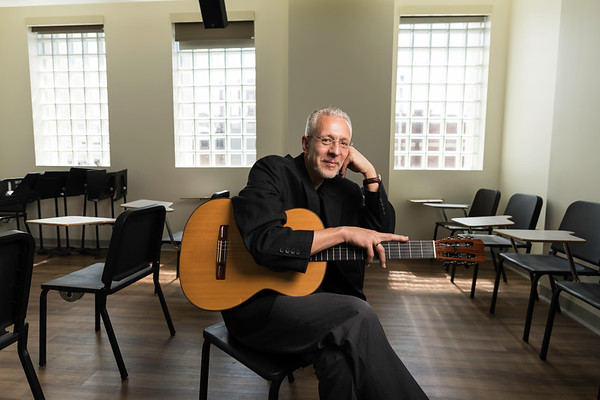 Petar Kodzas '99E (DMA) photographed at Eastman Community Music School June 21, 2019. Kodzas was named associate dean of the school in 2017 after teaching classical guitar at the school for two decades.  // photo by J. Adam Fenster / University of Rochester
