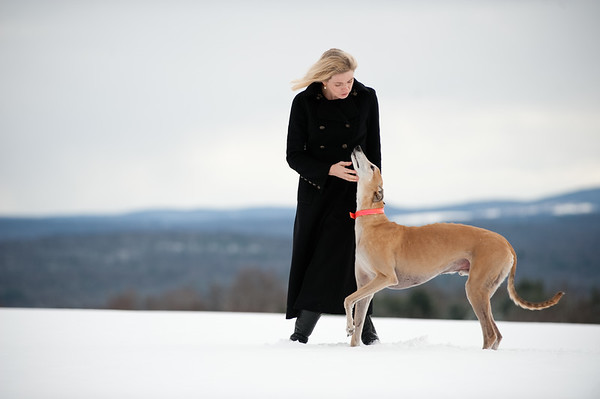 "University of Rochester alumnus and historical fiction writer Jennifer Donnelly '85 walks her greyhound Scotty at her home near Poughkeepsie, NY December 14, 2010. Her fourth novel, ""Revolution"", was published in October.  // photo:  J. Adam Fenster/University of Rochester"