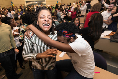 Brittany Black, left and Leslie Anderson celebrate after matching.  // University of Rochester School of Medicine and Dentistry students find out where their residencies will be on Match Day at the URMC March 17, 2017. // photo by J. Adam Fenster / University of Rochester
