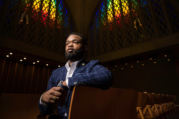 University of Rochester student leader Delvin J. Moody '18 is pictured in the Interfaith Chapel April 23, 2018.  // photo by J. Adam Fenster / University of Rochester