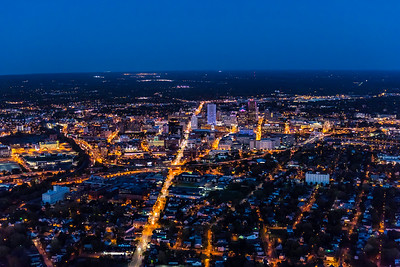 Downtown Rochester, NY is seen in evening aerial photos October 20, 2017.   // photo by J. Adam Fenster / University of Rochester
