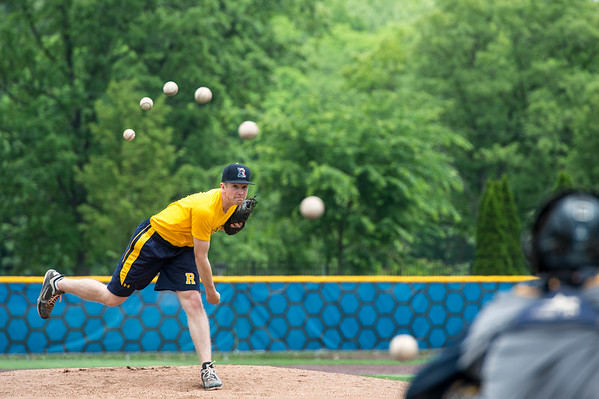"University of Rochester pitcher Rob Mabee [L] throws a curveball to catcher Nolan Schultz in a composited sequence of seven images to illustrate a new study co-authored by Duje Tadin, an associate professor of brain and cognitive sciences at the University of Rochester, June 15, 2015. The study asserts that human brains apply an algorithm known as a Kalman filter when tracking an object's position, which helps the brain process less than perfect visual signals, such as when objects move to the periphery of our visual field where acuity is low. However, the same algorithm that helps our brain track motion can be tricked by the pattern motion of an object, such as the seams on a spinning baseball, which causes our brain to ""see"" the ball suddenly drop from its curved path when, in reality, it curves steadily. // photo by J. Adam Fenster / University of Rochester"