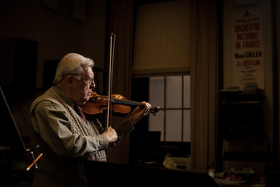 University of Rochester Eastman School of Music Distinguished Professor of Violin Zvi Zeitlin photographed in his office February 24, 2012. Zeitlin, 90, will retire after teaching at the school for 45 years.  // photo by J. Adam Fenster / University of Rochester