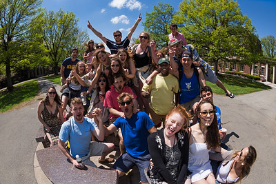 University of Rochester juniors and seniors celebrate the end of the academic year at the Meridian on Eastman quad May 12, 2015.  // photo by J. Adam Fenster / University of Rochester