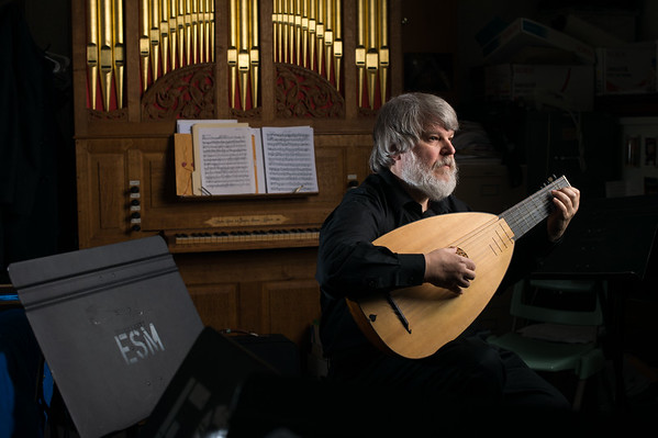 University of Rochester Eastman School of Music Professor of Lute and recent Grammy winner Paul O'Dette plays his lute in his studio at ESM February 18, 2015. // photo by J. Adam Fenster / University of Rochester