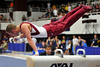 18 April 2008:  Oklahoma's Corey English celebrates as he concludes his pommel routine on his way to an Oklahoma team championship during the 2008 NCAA Men's Gymnastics Championships at Stanford University's Maples Pavilion in Stanford, CA.  Sports Illustrated selected this image in its online feature '2008 Best College Photos'.