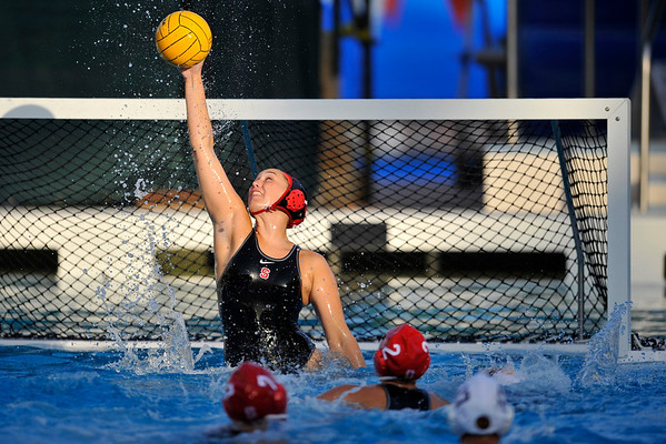 10 May 2008:  Stanford Cardinal Amber Oland (1) defends a shot during the semi-final match of the 2008 NCAA women's water polo championships at the Avery Aquatic Center in Stanford, CA.  USC defeated Stanford 10-6, to move on to the championship match against UCLA.