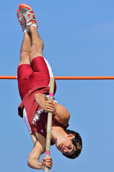 08 March 2008:  Mt. San Antonio College's Matt Todd clearing 4.75m in during the Benny Brown Invitational Track and Field Meet in Walnut, CA.  Todd finished tied for second place in the men's invitational pole vault event.