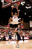 17 December 2008: Stanford Cardinal forward Josh Owens (24) dunks the ball over Northern Arizona Lumberjacks guard Josh Wilson (21) during the first half of the Cardinal's 66-57 win over the Lumberjacks at Maples Pavilion in Stanford, California.