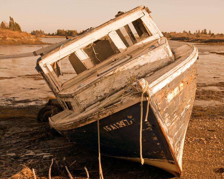Abandoned boat front view