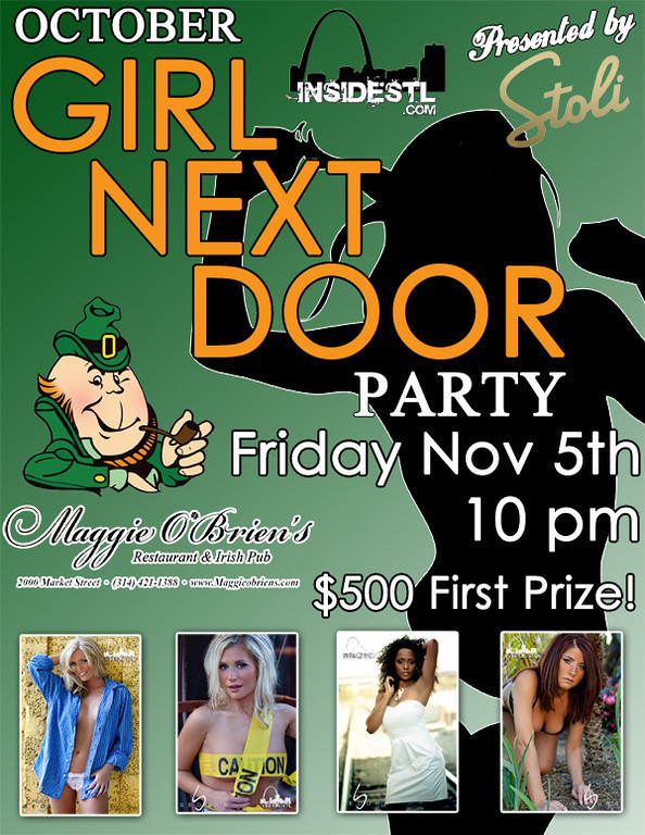 The Girl Next Door section and theme was already in existence when I started at insideSTL.  For different events surrounding the contests I had to produce fliers using the preexisting theme and integrating it with our clients creatives for sponsorship.