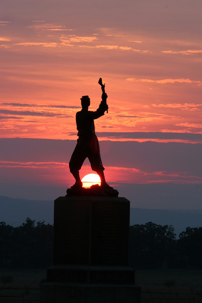 Monument at the site of Pickett's Charge - Sunset - Gettysburg National Battlefield, Pennsylvania