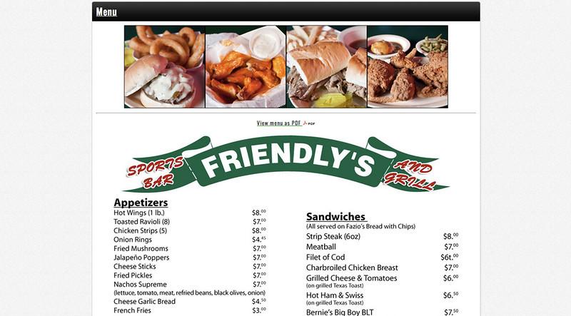 Friendly's menu items