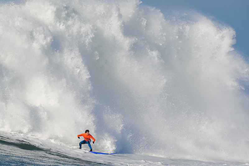12 January 2008: Champion Greg Long during the finals of the 2008 Mavericks Surf Contest in Princeton-by-the-Sea, CA.