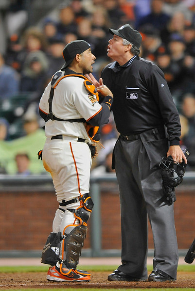 29 April 2008:  Bengie Molina (1) argues a controversial balk call with home plate umpire Gary Darling during the Colorado Rockies' 3-2 victory over the San Francisco Giants at AT&T Park in San Francisco, CA.  Darling appeared to grant a time-out at Molina's request only to call a balk when pitcher Tim Lincecum stopped his wind-up.
