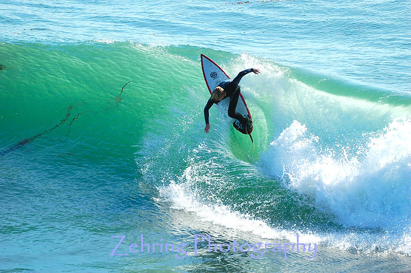 """Showing top form carving out a great ride on an otherwise average size wave at """"Steamers""""."""