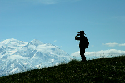 Photographer's son looking out at Mt. McKinley - Denali National Park.